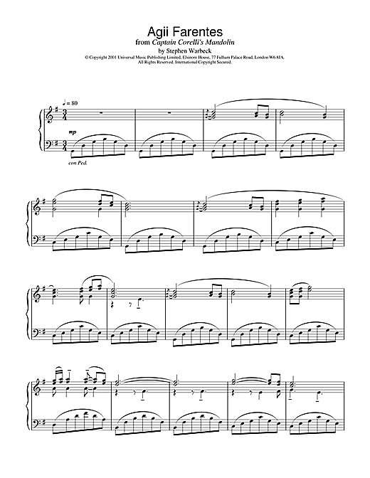Download Stephen Warbeck 'Agii Fanentes (from Captain Corelli's Mandolin)' Digital Sheet Music Notes & Chords and start playing in minutes