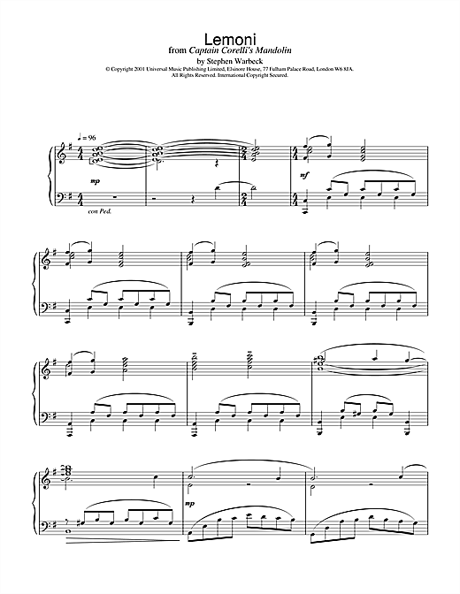 Download Stephen Warbeck 'Lemoni (from Captain Corelli's Mandolin)' Digital Sheet Music Notes & Chords and start playing in minutes
