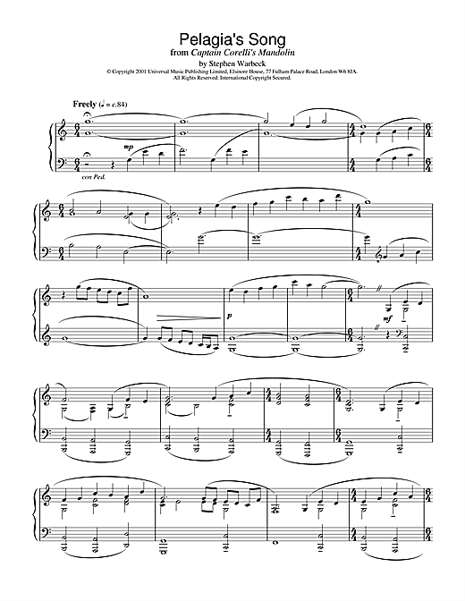 Download Stephen Warbeck 'Pelagia's Song (Ricordo Ancor) (from Captain Corelli's Mandolin)' Digital Sheet Music Notes & Chords and start playing in minutes