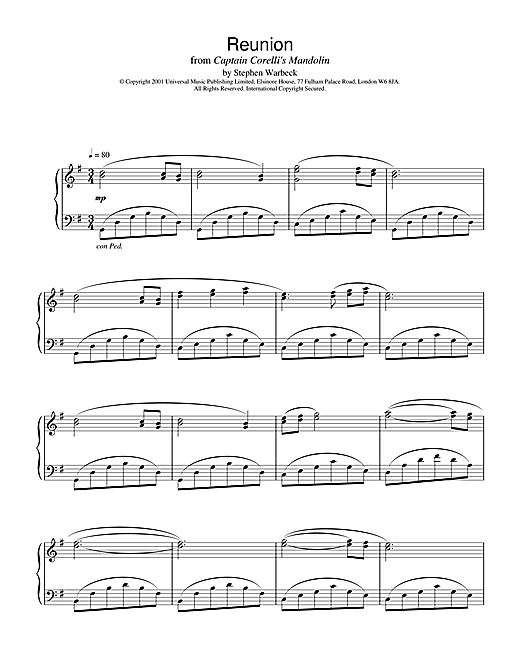 Download Stephen Warbeck 'Reunion (from Captain Corelli's Mandolin)' Digital Sheet Music Notes & Chords and start playing in minutes