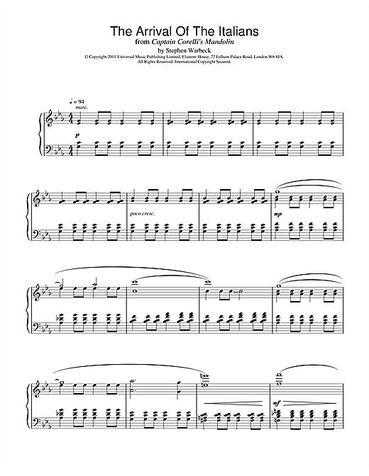 Download Stephen Warbeck 'The Arrival Of The Italians (from Captain Corelli's Mandolin)' Digital Sheet Music Notes & Chords and start playing in minutes