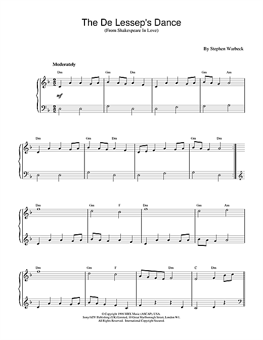 Download Stephen Warbeck 'The De Lessep's Dance (from Shakespeare In Love)' Digital Sheet Music Notes & Chords and start playing in minutes