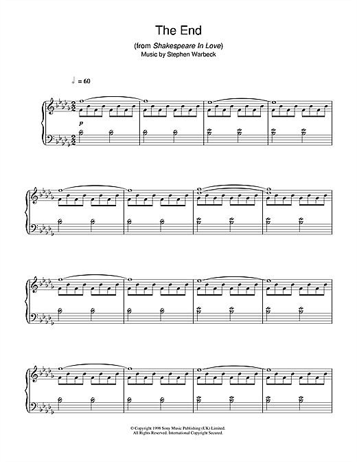 Download Stephen Warbeck 'The End (from Shakespeare In Love)' Digital Sheet Music Notes & Chords and start playing in minutes