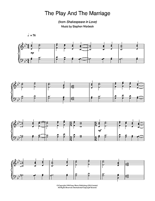 Download Stephen Warbeck 'The Play And The Marriage (from Shakespeare In Love)' Digital Sheet Music Notes & Chords and start playing in minutes