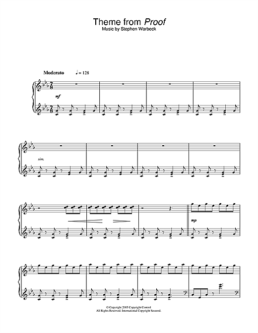 Download Stephen Warbeck 'Theme from Proof' Digital Sheet Music Notes & Chords and start playing in minutes