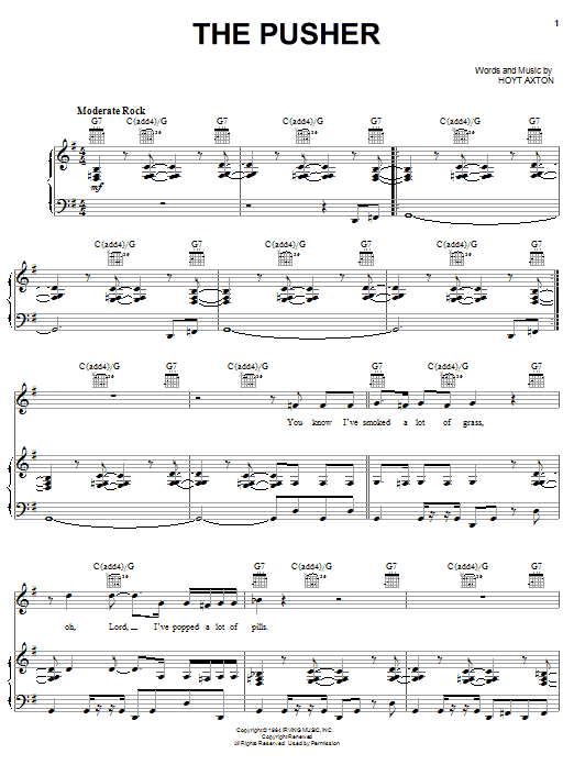 Steppenwolf The Pusher sheet music preview music notes and score for Lyrics & Chords including 3 page(s)