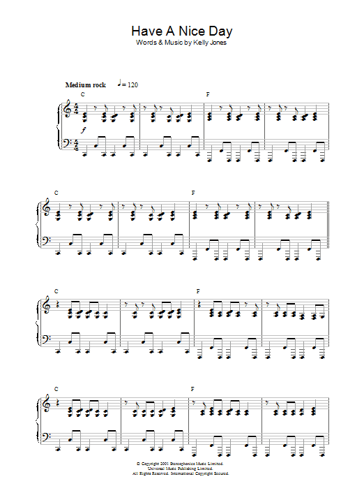 Stereophonics Have A Nice Day sheet music preview music notes and score for Keyboard including 2 page(s)
