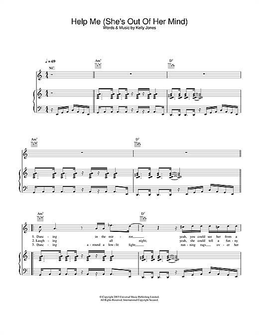 Stereophonics Help Me (She's Out Of Her Mind) sheet music notes and chords