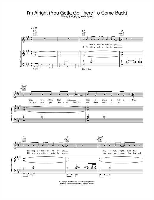Stereophonics I'm Alright (You Gotta Go There To Come Back) sheet music notes and chords