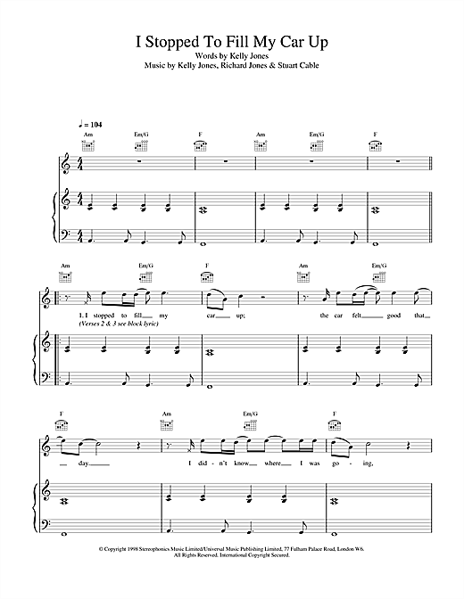 Stereophonics I Stopped To Fill My Car Up sheet music notes and chords