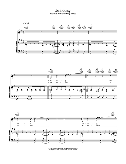 Stereophonics Jealousy sheet music notes and chords