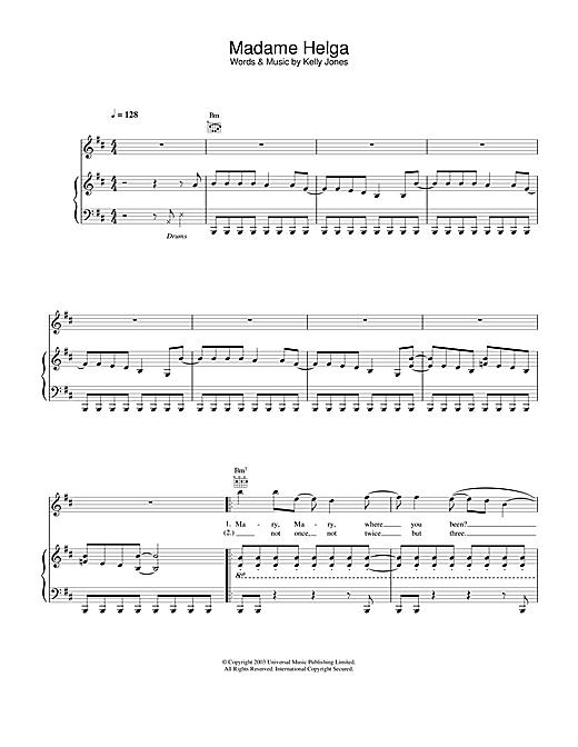 Stereophonics Madame Helga sheet music notes and chords