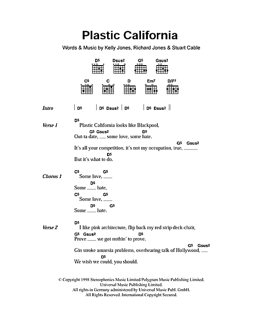 Stereophonics Plastic California sheet music notes and chords