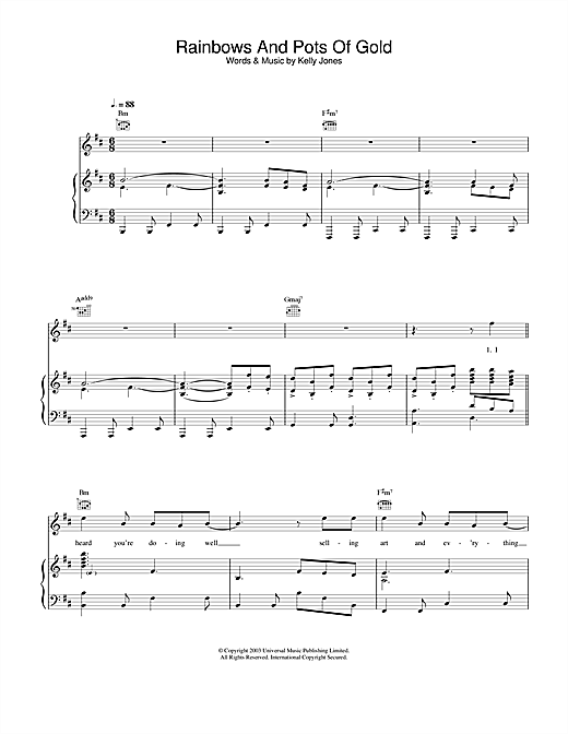 Stereophonics Rainbows And Pots Of Gold sheet music notes and chords