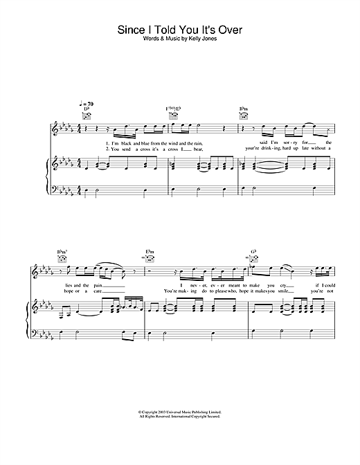 Stereophonics Since I Told You It's Over sheet music notes and chords