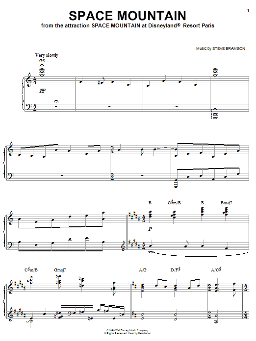 Steve Bramson Space Mountain sheet music notes and chords