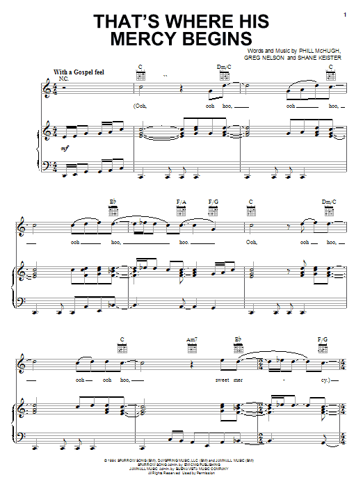 Steve Green That's Where His Mercy Begins sheet music preview music notes and score for Piano, Vocal & Guitar (Right-Hand Melody) including 6 page(s)