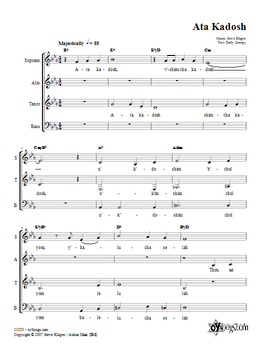Steve Klaper Ata Kadosh sheet music preview music notes and score for SATB including 4 page(s)