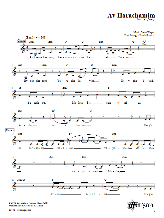 Steve Klaper Av Harachamim sheet music preview music notes and score for Melody Line, Lyrics & Chords including 3 page(s)