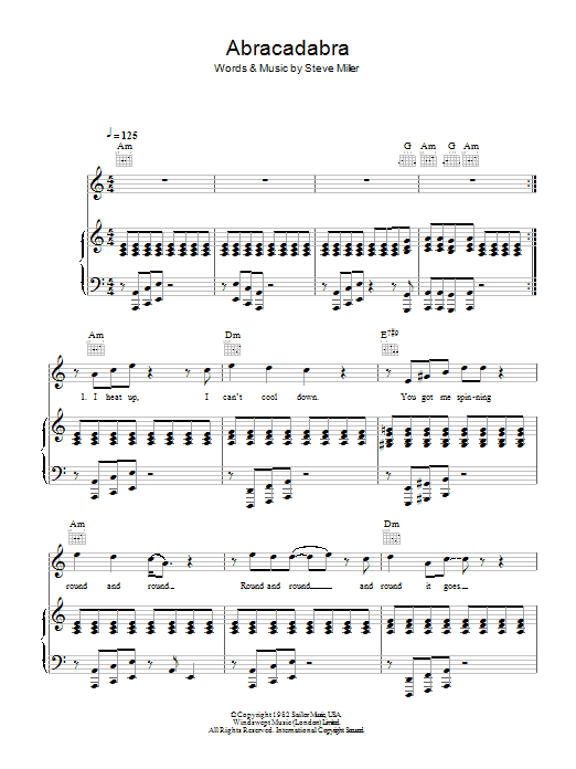 The Steve Miller Band Abracadabra sheet music preview music notes and score for Guitar Tab including 4 page(s)