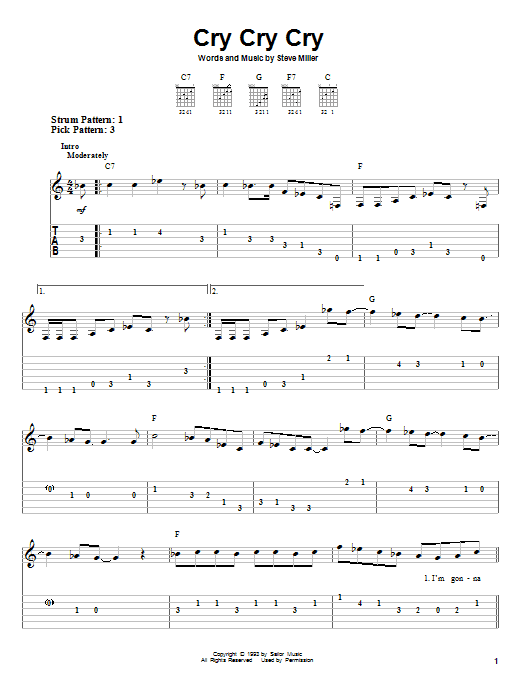 Steve Miller Band Cry Cry Cry sheet music notes and chords