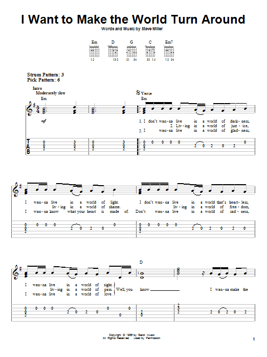 Steve Miller Band I Want To Make The World Turn Around sheet music notes and chords