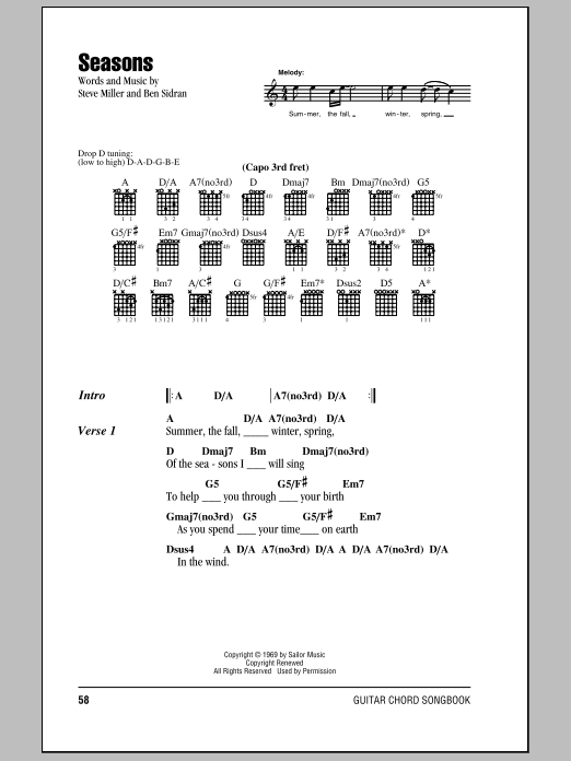 Steve Miller Band Seasons sheet music notes and chords
