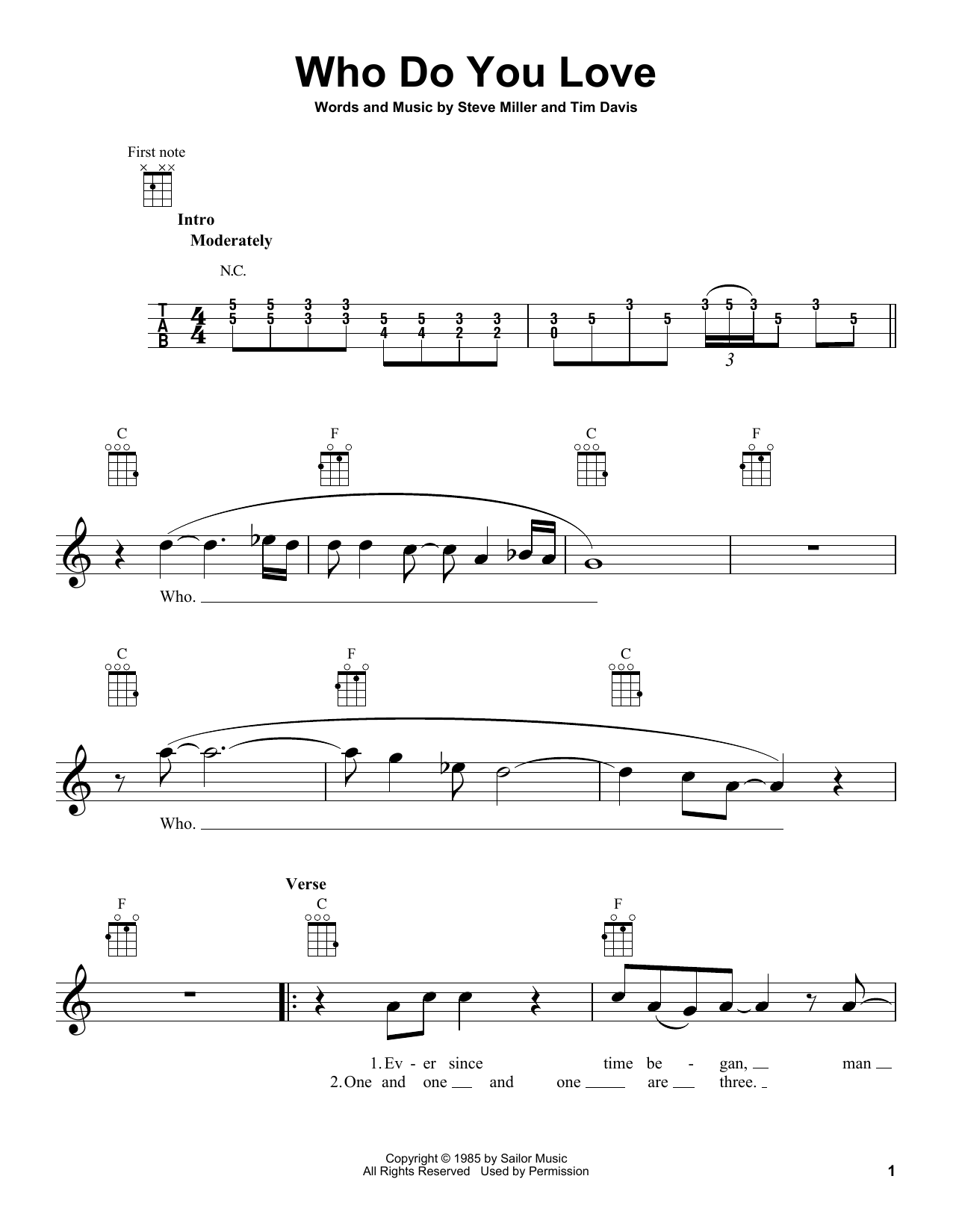 The Steve Miller Band Who Do You Love sheet music notes and chords