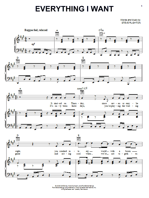Steve Rushton Everything I Want sheet music preview music notes and score for Piano (Big Notes) including 5 page(s)
