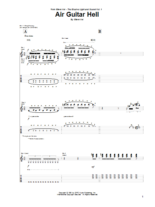 Steve Vai Air Guitar Hell sheet music preview music notes and score for Guitar Tab including 9 page(s)