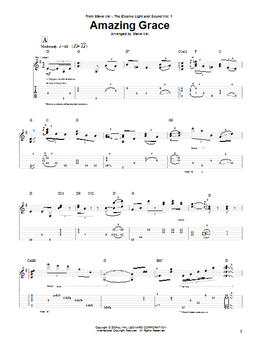 Steve Vai Amazing Grace sheet music preview music notes and score for Guitar Tab including 3 page(s)