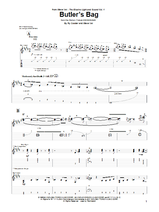 Steve Vai Butler's Bag sheet music preview music notes and score for Guitar Tab including 5 page(s)