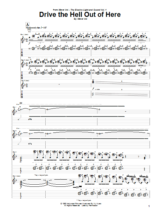 Steve Vai Drive The Hell Out Of Here sheet music preview music notes and score for Guitar Tab including 8 page(s)