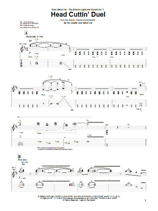 Steve Vai Head Cuttin' Duel sheet music preview music notes and score for Guitar Tab including 11 page(s)