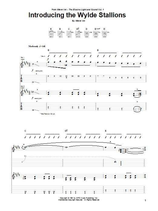 Steve Vai Introducing The Wylde Stallions sheet music preview music notes and score for Guitar Tab including 6 page(s)