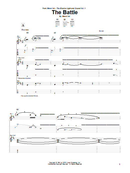 Steve Vai The Battle sheet music preview music notes and score for Guitar Tab including 26 page(s)