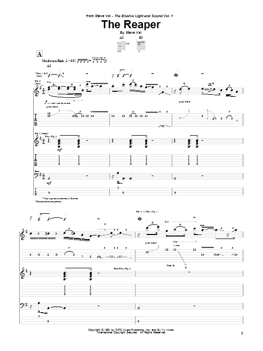 Steve Vai The Reaper sheet music preview music notes and score for Guitar Tab including 19 page(s)