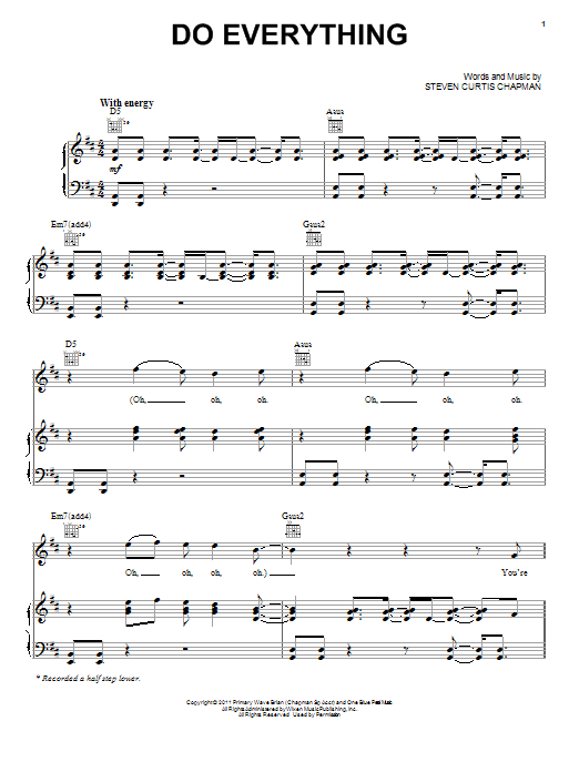 Steven Curtis Chapman Do Everything sheet music preview music notes and score for Piano, Vocal & Guitar (Right-Hand Melody) including 10 page(s)