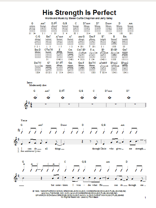 Steven Curtis Chapman His Strength Is Perfect sheet music notes and chords