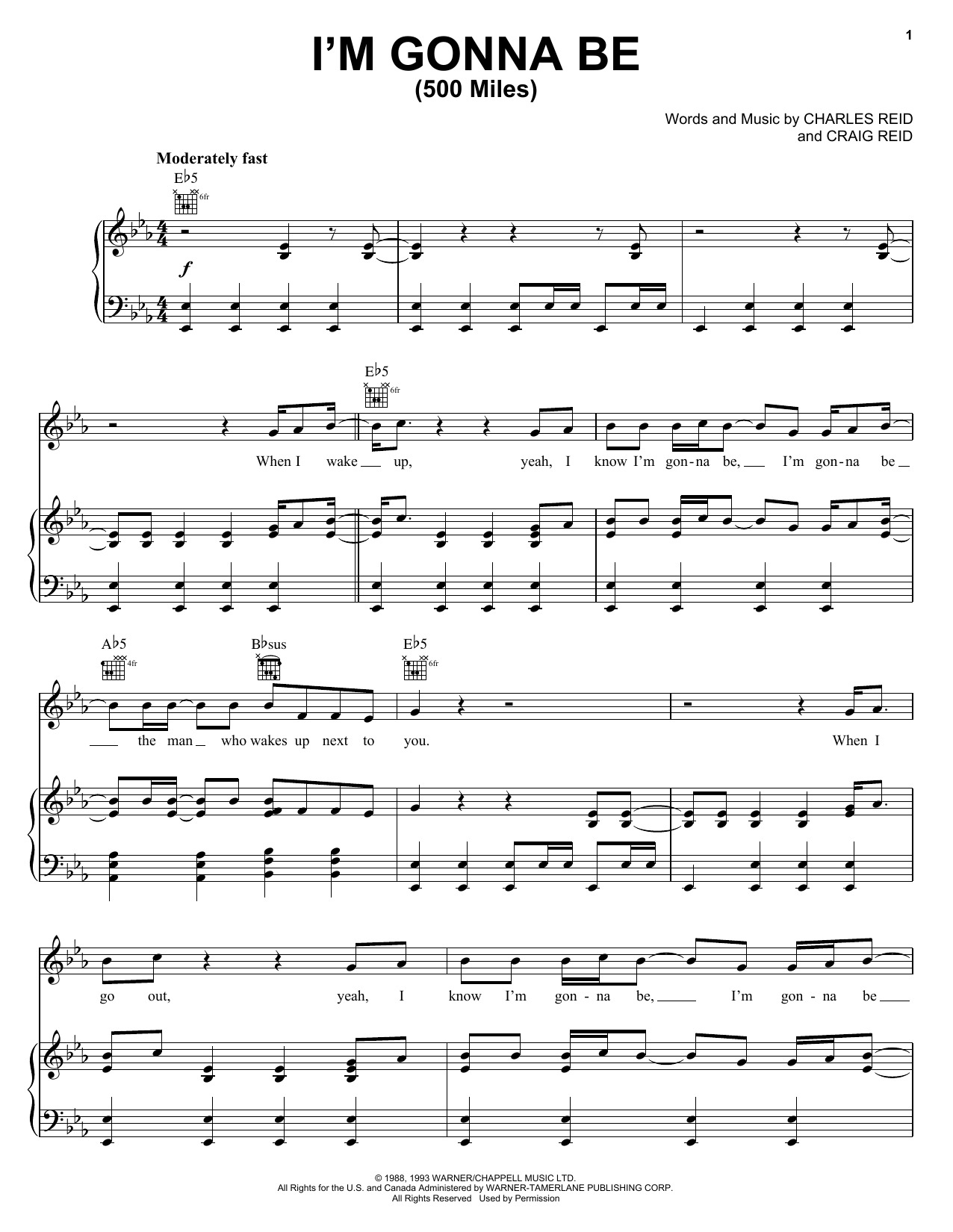 Steven Curtis Chapman I'm Gonna Be (500 Miles) sheet music preview music notes and score for Piano, Vocal & Guitar (Right-Hand Melody) including 10 page(s)