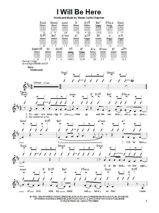 Steven Curtis Chapman I Will Be Here sheet music preview music notes and score for Piano, Vocal & Guitar (Right-Hand Melody) including 6 page(s)