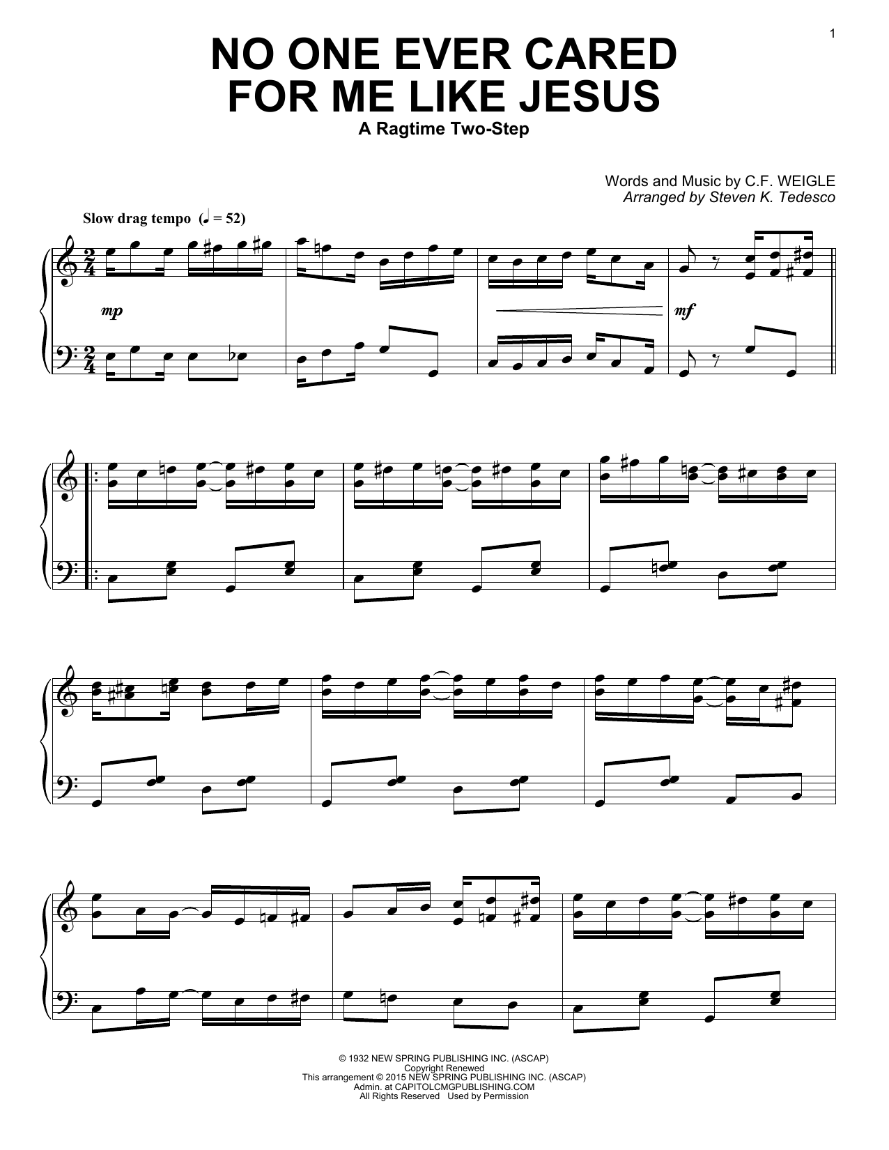 Download Steven K. Tedesco 'No One Ever Cared For Me Like Jesus' Digital Sheet Music Notes & Chords and start playing in minutes