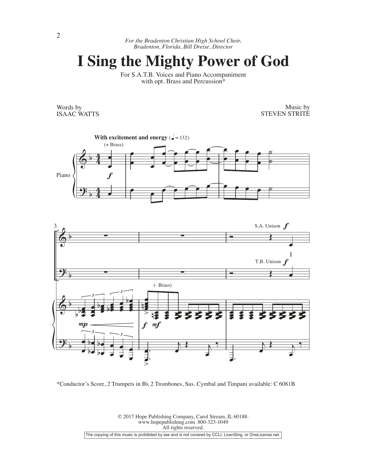 Steven Strite I Sing the Mighty Power of God sheet music preview music notes and score for SATB Choir including 12 page(s)