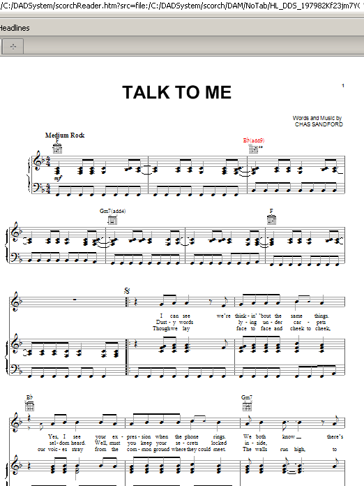 Stevie Nicks Talk To Me sheet music preview music notes and score for Piano, Vocal & Guitar (Right-Hand Melody) including 4 page(s)
