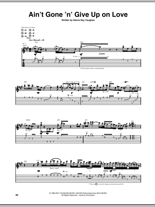 Stevie Ray Vaughan Ain't Gone 'N' Give Up On Love sheet music preview music notes and score for Guitar Tab including 12 page(s)