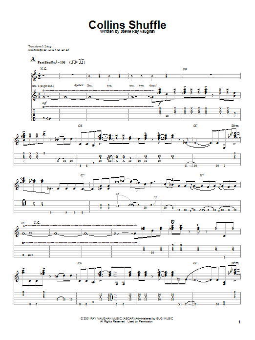 Stevie Ray Vaughan Collins Shuffle sheet music preview music notes and score for Guitar Tab including 8 page(s)