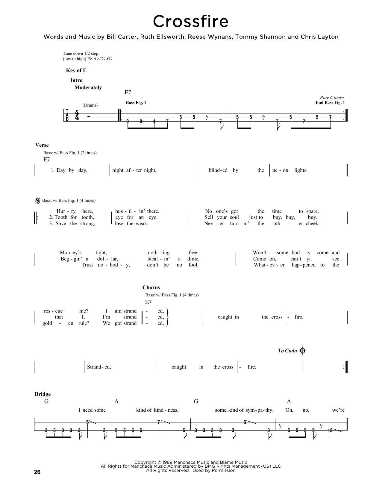 Download Stevie Ray Vaughan 'Crossfire' Digital Sheet Music Notes & Chords and start playing in minutes
