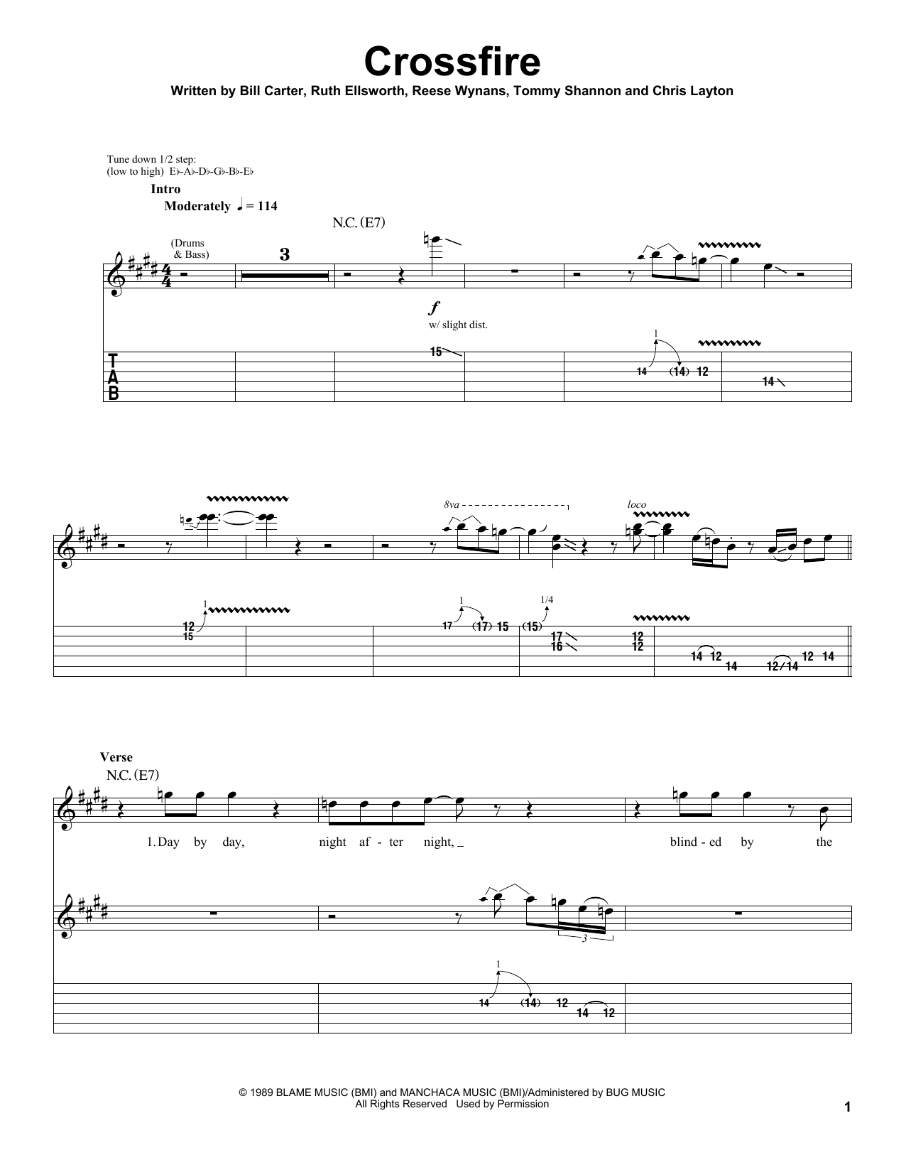 Stevie Ray Vaughan Crossfire sheet music preview music notes and score for Guitar Tab including 11 page(s)