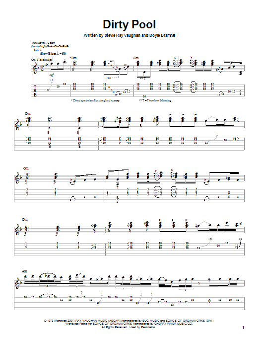 Stevie Ray Vaughan Dirty Pool sheet music preview music notes and score for Guitar Tab including 13 page(s)