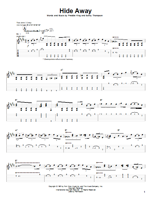 Stevie Ray Vaughan Hide Away sheet music preview music notes and score for Guitar Tab including 5 page(s)